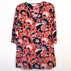 J. CREW | floral printed tunic top blouse